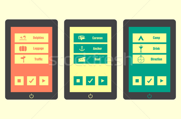 Smartphone with special travel application icons, vector, eps10 Stock photo © place4design