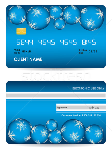 Vector credit card, front and back view - christmas edition Stock photo © place4design