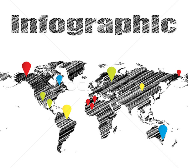 Photo stock: Spéciale · dessinés · à · la · main · carte · affaires · monde · art