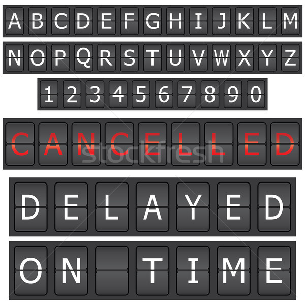 Set of letters and numbers on a mechanical timetable Stock photo © place4design