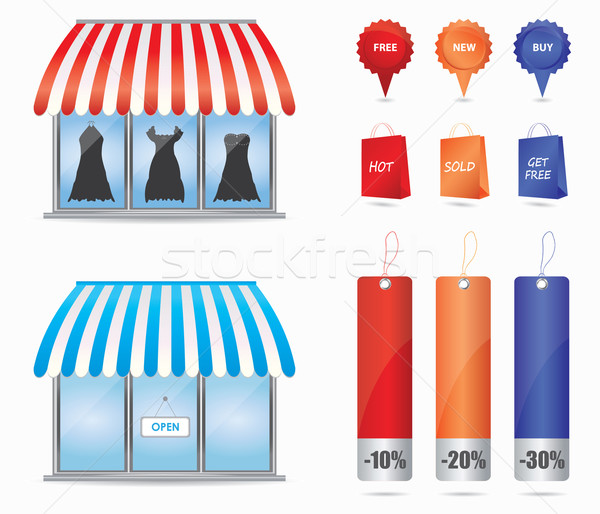 Cute shop icons  Stock photo © place4design