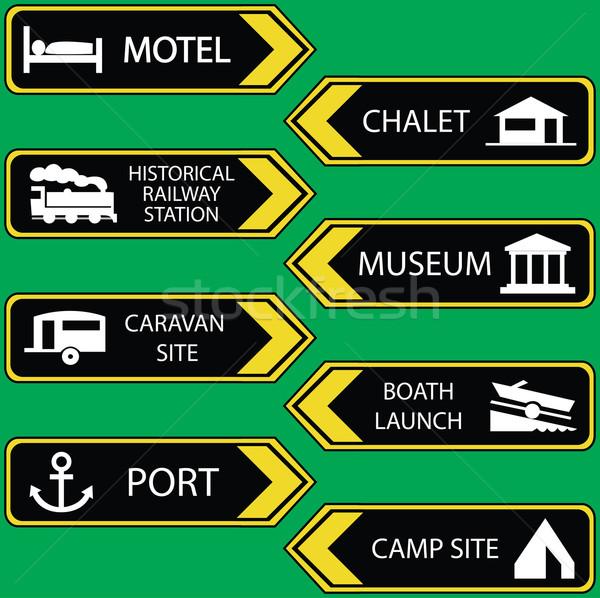 tourist locations icon set black-yellow - VECTOR Stock photo © place4design