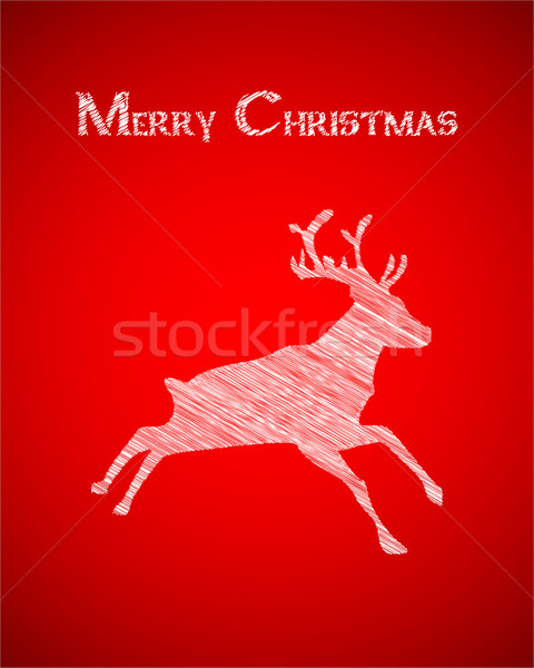 Christmas and New Years postcard with silhouette of reindeer Stock photo © place4design