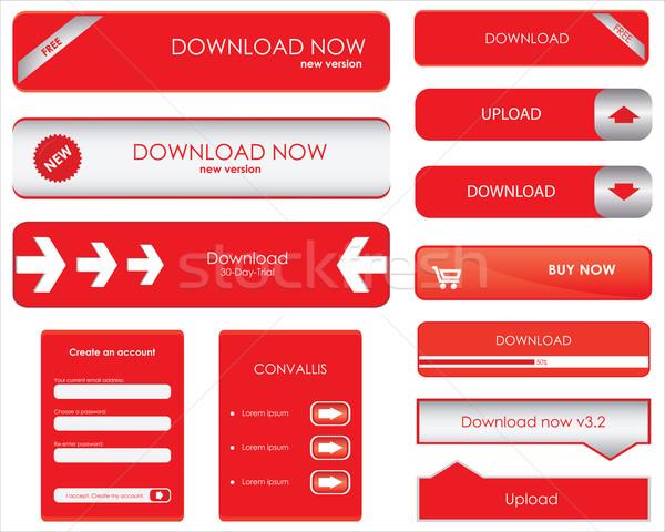 Rosso download pulsanti internet sfondo colore Foto d'archivio © place4design