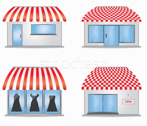 Cute shop icons with red awnings Stock photo © place4design