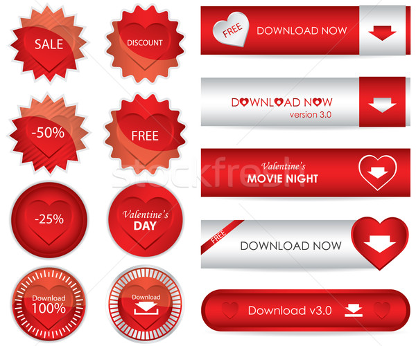 special red website download buttons - valentine's day edition Stock photo © place4design