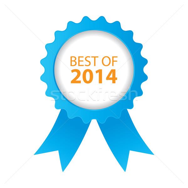 Azul o melhor 2014 distintivo fita projeto Foto stock © place4design