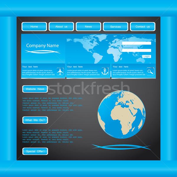 blue website template vector Stock photo © place4design