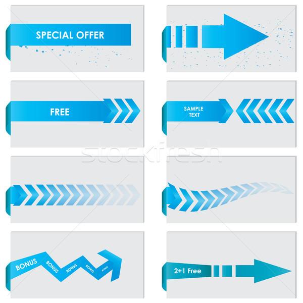 Stock fotó: Kék · papír · címke · vektor · vásár · közlemény