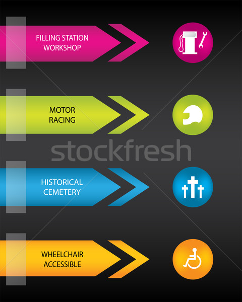 colored tourist locations labels  Stock photo © place4design