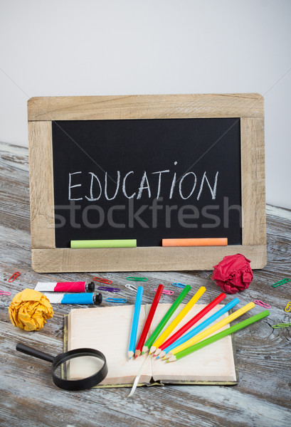 Stock photo: education background with special school supplies, end of holida