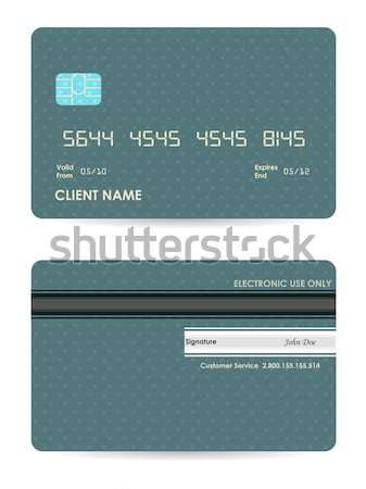 Stock photo: Vector credit card, front and back view