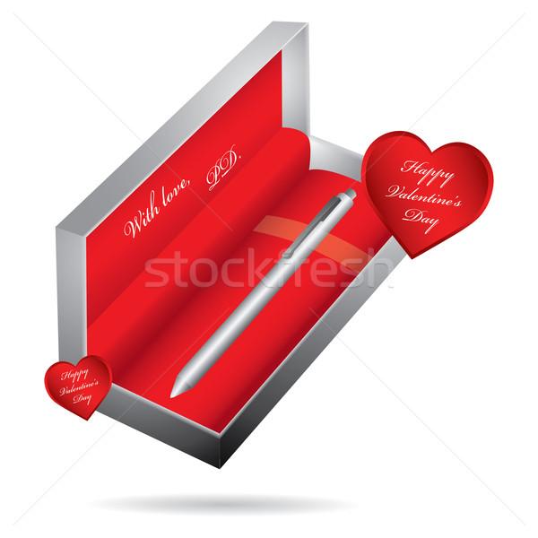 metal ballpoint pen in a metallic case Stock photo © place4design