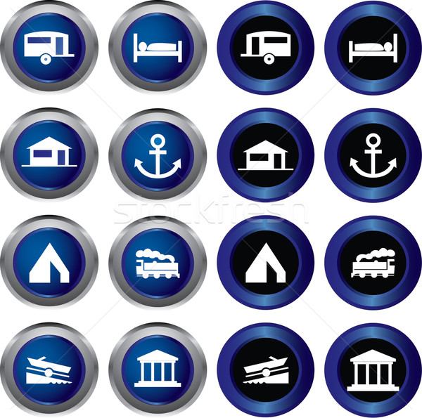 tourist locations icon set - BLUE VECTOR Stock photo © place4design