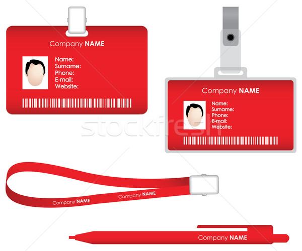 Targhetta carta pen sicurezza rosso Foto d'archivio © place4design