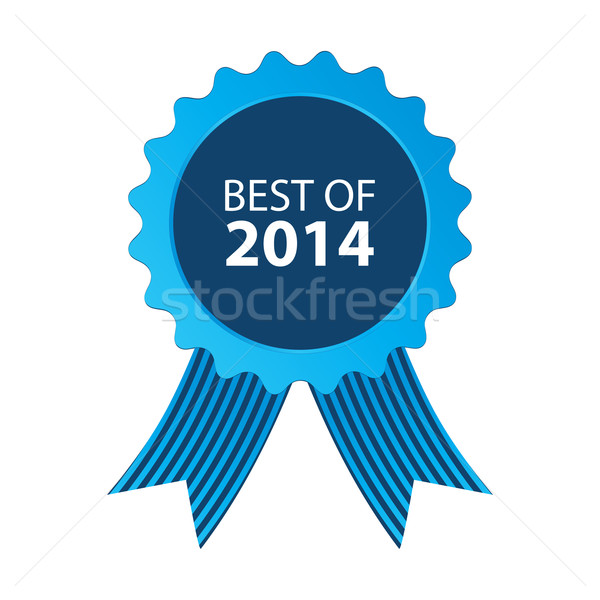blue best of 2014 badge with ribbon Stock photo © place4design