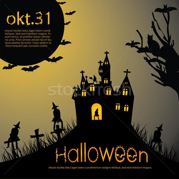 Halloween parti dizayn web kale örümcek Stok fotoğraf © place4design