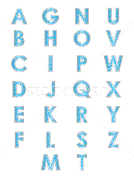Stockfoto: Speciaal · Blauw · alfabet · textuur · hand