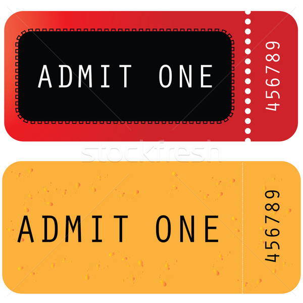 red - yellow ticket - admit one Stock photo © place4design