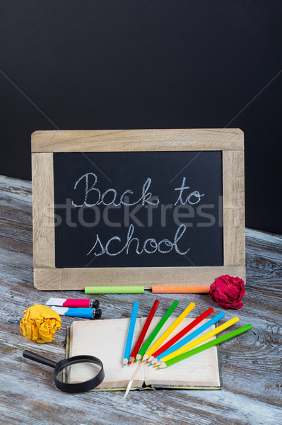 Stock photo: back to school background with special school supplies, end of h