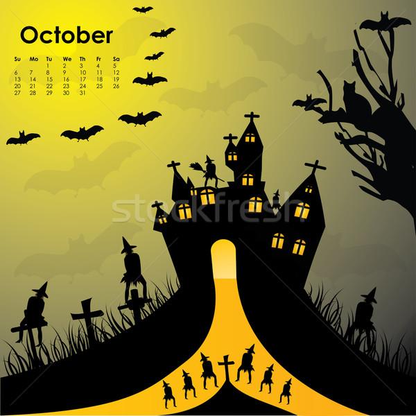 Halloween kasteel natuur straat home Stockfoto © place4design