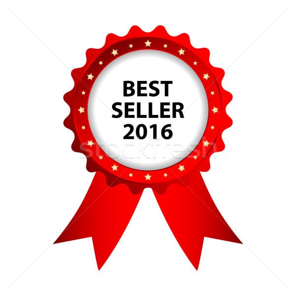 Speciaal Rood badge best verkoper 2016 Stockfoto © place4design
