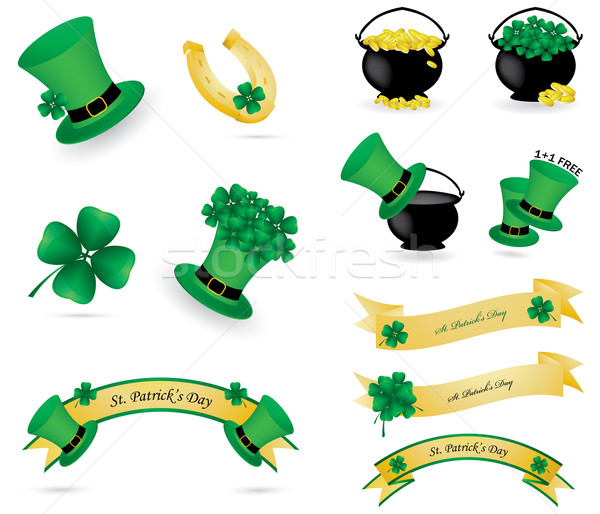 St. Patrick's day icons and banners Stock photo © place4design