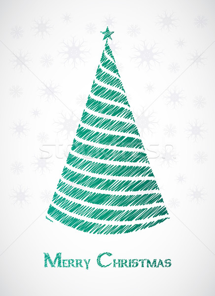 special green sketch Christmas tree design Stock photo © place4design
