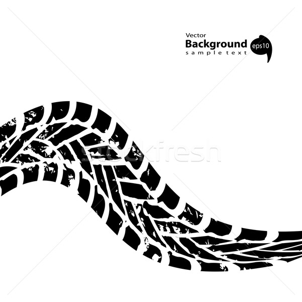grunge black tire track on white background Stock photo © place4design