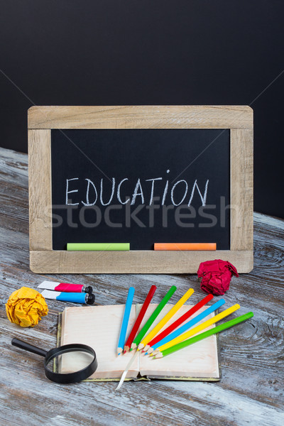 education background with special school supplies, end of holida Stock photo © place4design