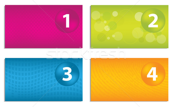 Set of colorful business cards with numbered buttons Stock photo © place4design
