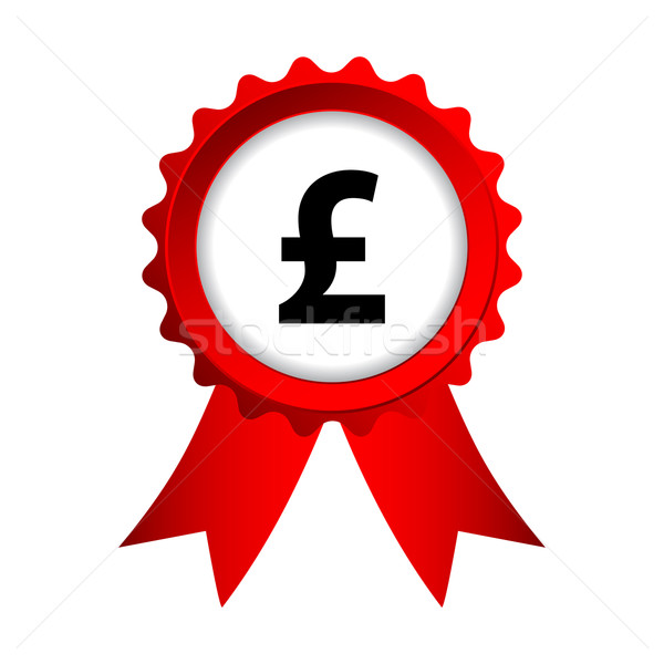 red label with ribbons and pound sign Stock photo © place4design
