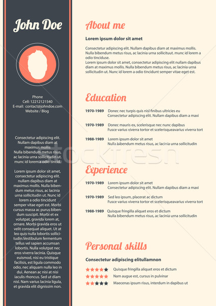 Curriculum vitae with special modern design, vector, eps10 Stock photo © place4design