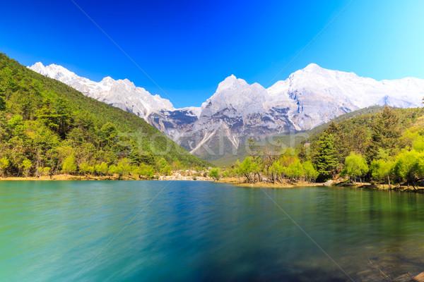 Ejderha kar dağ görmek nehir güneybatı Stok fotoğraf © pngstudio