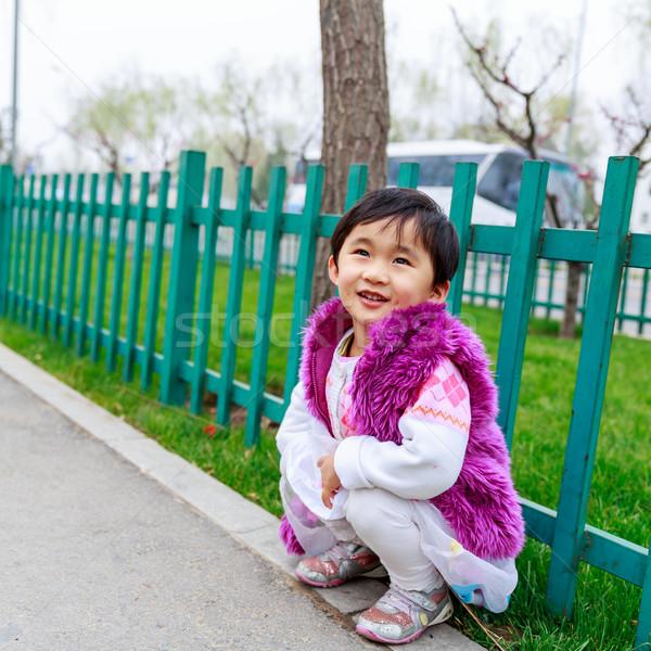 çocuklar ifadeler çok güzel kız gülümsüyor sokak Stok fotoğraf © pngstudio