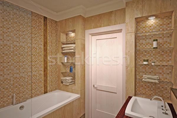 Interieur · badkamer · 3d · model · interieur · ontwerp stockfoto