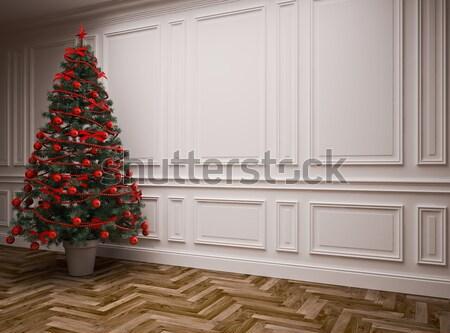 Noel iç ayrıntılar noel ağacı ev sineması ağaç Stok fotoğraf © podsolnukh