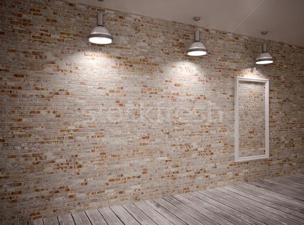 Bandeira parede parede de tijolos lâmpadas edifício madeira Foto stock © podsolnukh
