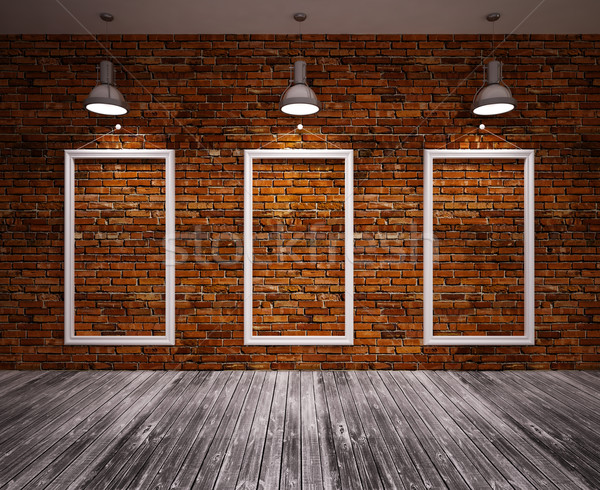 Cartaz quarto parede de tijolos lâmpadas projeto quadro Foto stock © podsolnukh