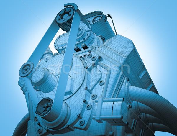 Benzine motor 3d render frame auto technologie Stockfoto © podsolnukh