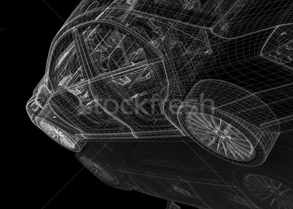 Carro 3D modelo corpo estrutura esportes Foto stock © podsolnukh