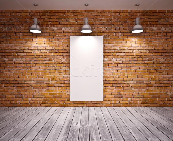 Banner on wall Stock photo © podsolnukh
