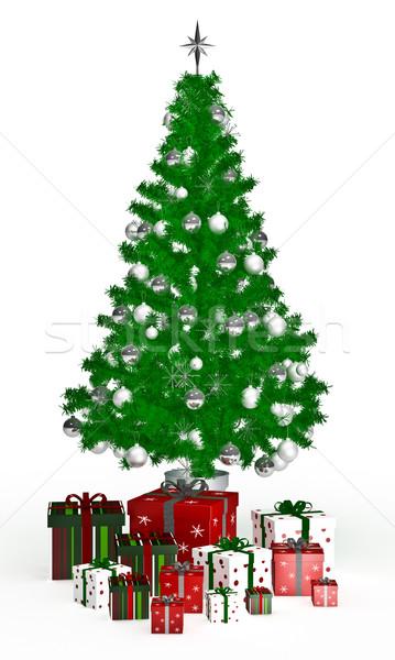 Gift  boxes under Christmas tree on white Stock photo © podsolnukh