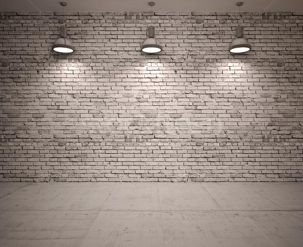 Poster stanza lampade costruzione legno costruzione Foto d'archivio © podsolnukh