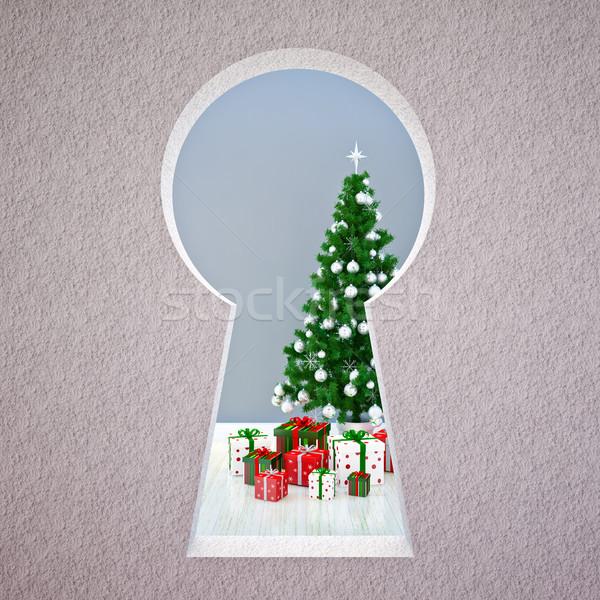 Natale serratura albero di natale fuoco inverno notte Foto d'archivio © podsolnukh