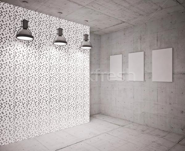 Bandeira parede vazio moderno interior edifício Foto stock © podsolnukh