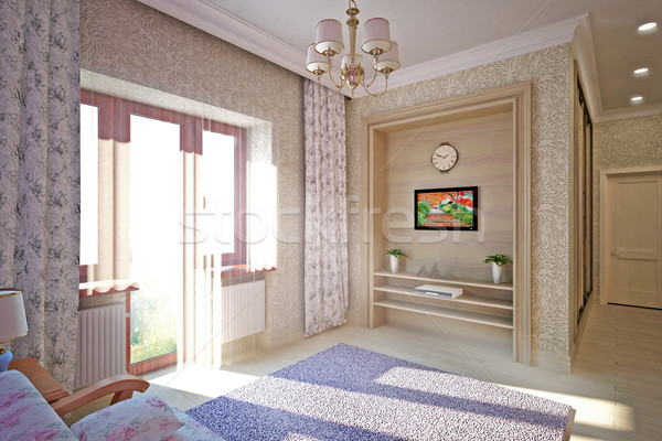 Modern interior design of  bedroom Stock photo © podsolnukh