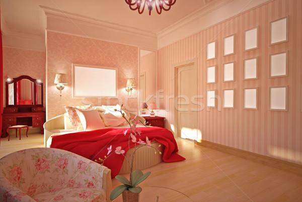 interior design Bedroom in pink Stock photo © podsolnukh
