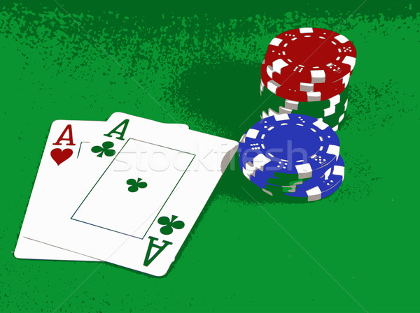 Poker - A Pair of Aces with Poker Chips Stock photo © PokerMan