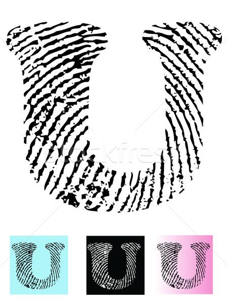 Fingerprint Alphabet Letter U Stock photo © PokerMan